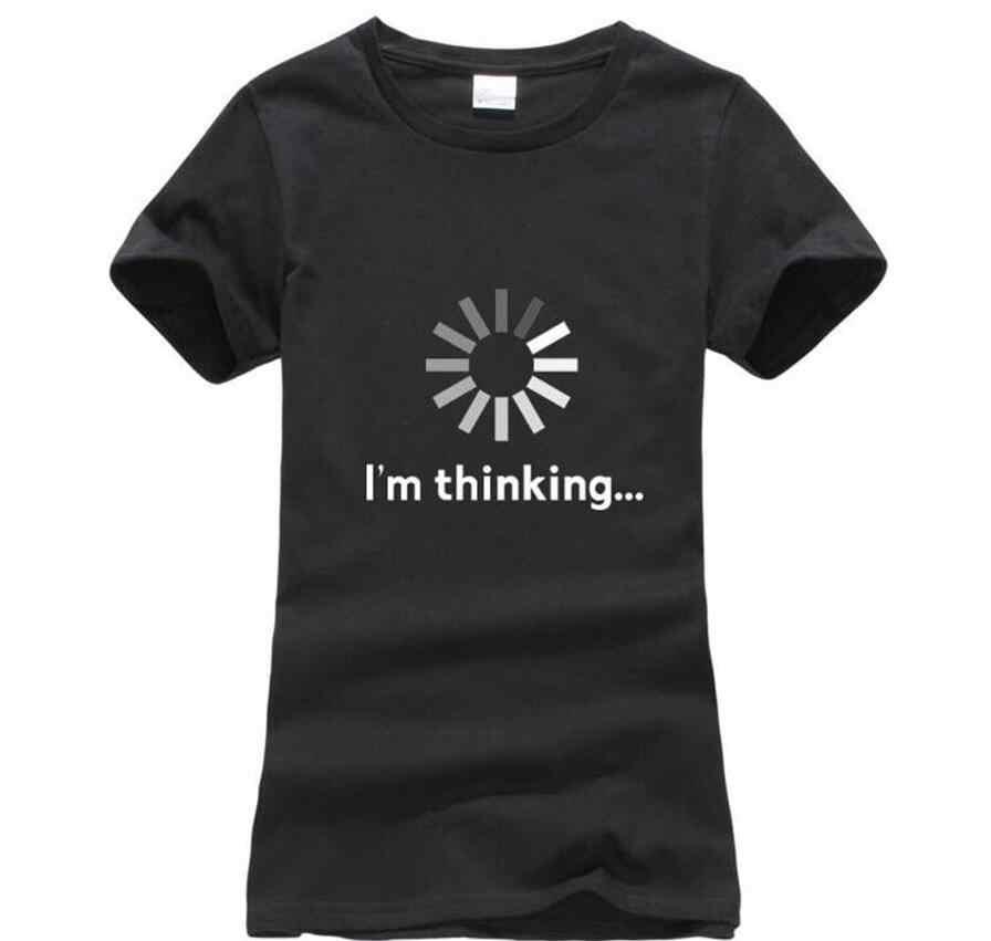 Aku berpikir nyaman T-shirt wanita lucu dicetak wanita t shirt 2018 baru tren O-neck tshirt lengan pendek mode kasual tops