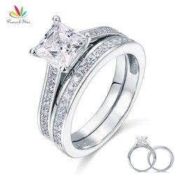 Павлин Star 1.5 ct Принцесса Solid 925 серебро 2-PCS Свадебные Обещание Обручение набор колец cfr8009s