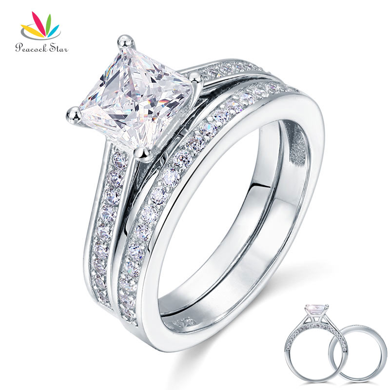 Peacock Star 1.5 Ct Princess Cut Solid 925 Sterling Silver 2-Pcs Wedding Promise Engagement Ring Set CFR8009S peacock star solid sterling 925 silver bridal wedding promise engagement ring set 2 ct pear jewelry cfr8224