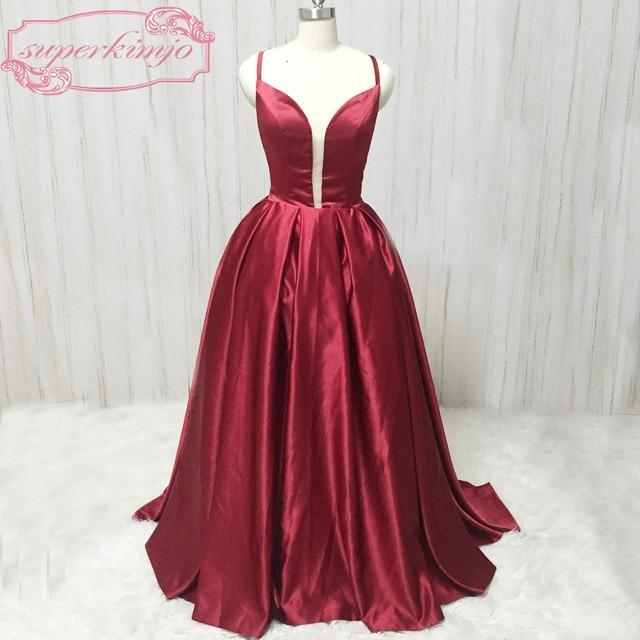 superkimjo burgundy prom dresses sweetheart neckline backless satin ball  gown long dark red evening dresses cheap 984c10ac8097