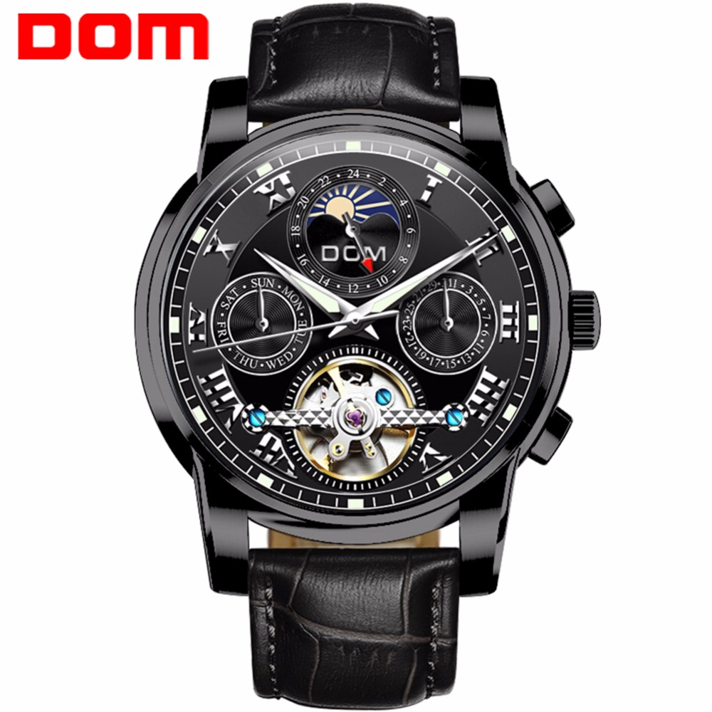 DOM Men Mechanical Watch Luxury Brand Luminous Watches Waterproof Leather Men Multifunctional Watches Montre Homme M-75BL-1MH все цены