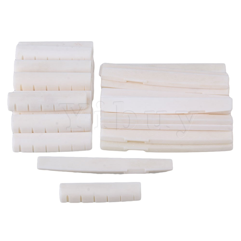 Yibuy 50 x Beige Oxen Bone 43x6x9mm Nut 72x3x8mm Saddle for 6-String Acoustic Guitar 2016 new buffalo bone bridge saddle replacement guitar parts for 6 string acoustic guitar