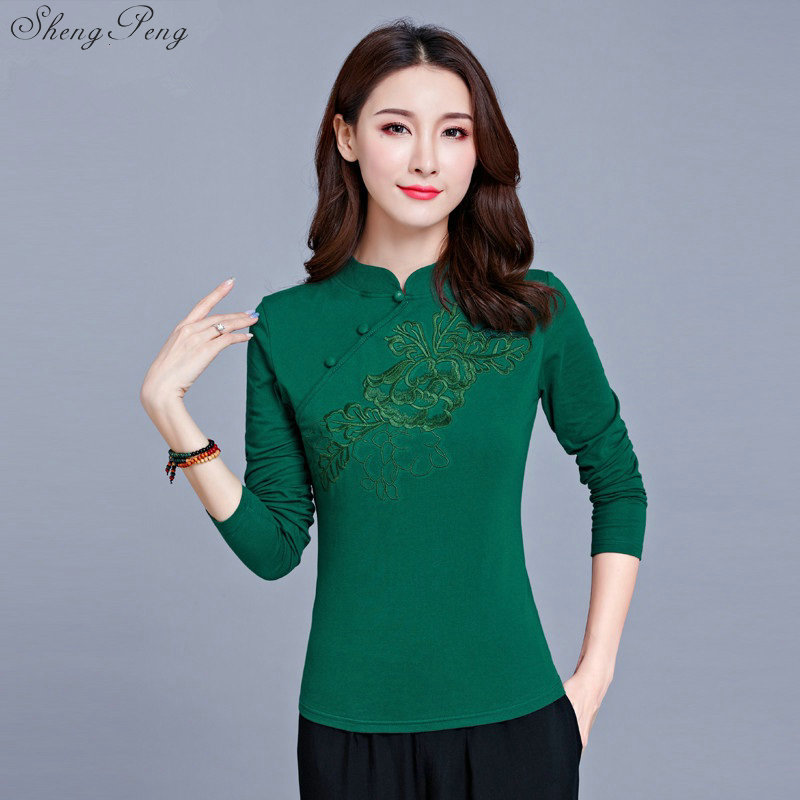 Image 5 - Cheongsam top traditional chinese clothing women tops womens long sleeve tops V1135-in Tops from Novelty & Special Use
