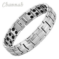2015 Men Jewelry 44pcs Magnets Silver High Power Magnetic Stainless Steel Bracelet Male Bangle Free Shipping