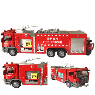 Puzzle toy alloy car models static fire truck ambulance model truck birthday gift