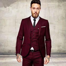 Мужская Мода винно-красный, Бургунди Для мужчин костюмы обтягивающий официальный для жениха для выпускного 3 предмета Мужской Блейзер