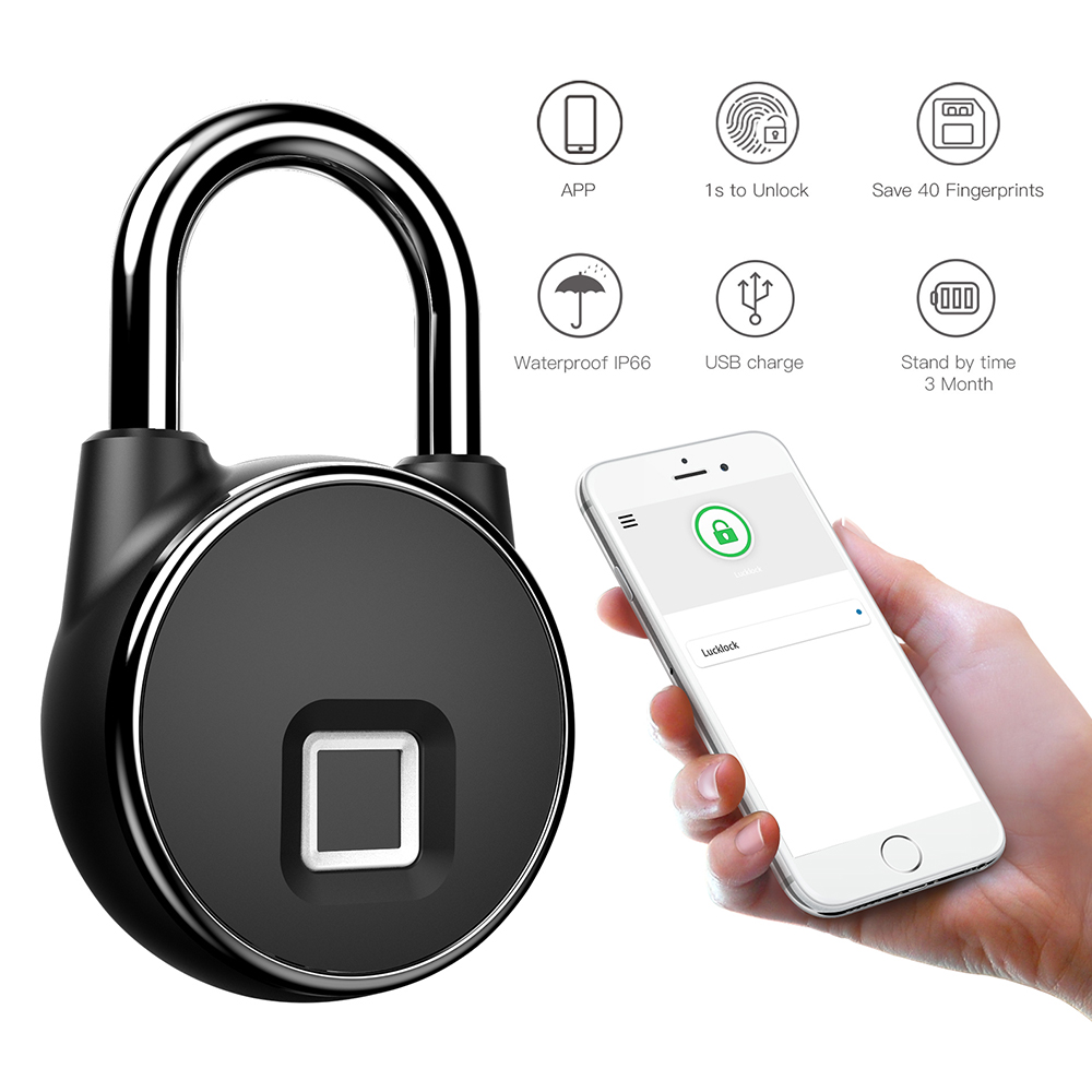 Aimitek Fingerprint Padlock Bluetooth APP Smart Keyless Lock Waterproof Biometric Security Lock for Door Case Luggage Gym Bike Electric Lock  - AliExpress