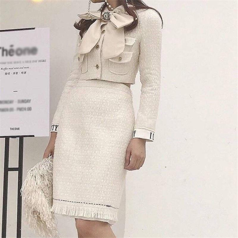 2019 Euramerican Spring Summer New Fashion Elegant Lady Polyester Turn-Down Collar High End Bow Collar Woman 2 Pieces Skirt Set