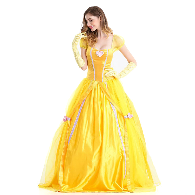 Halloween Beauty and the Beast Cosplay Costumes Adult Belle Princess Dresses For Women Anime Party Flower Yellow Long Dress