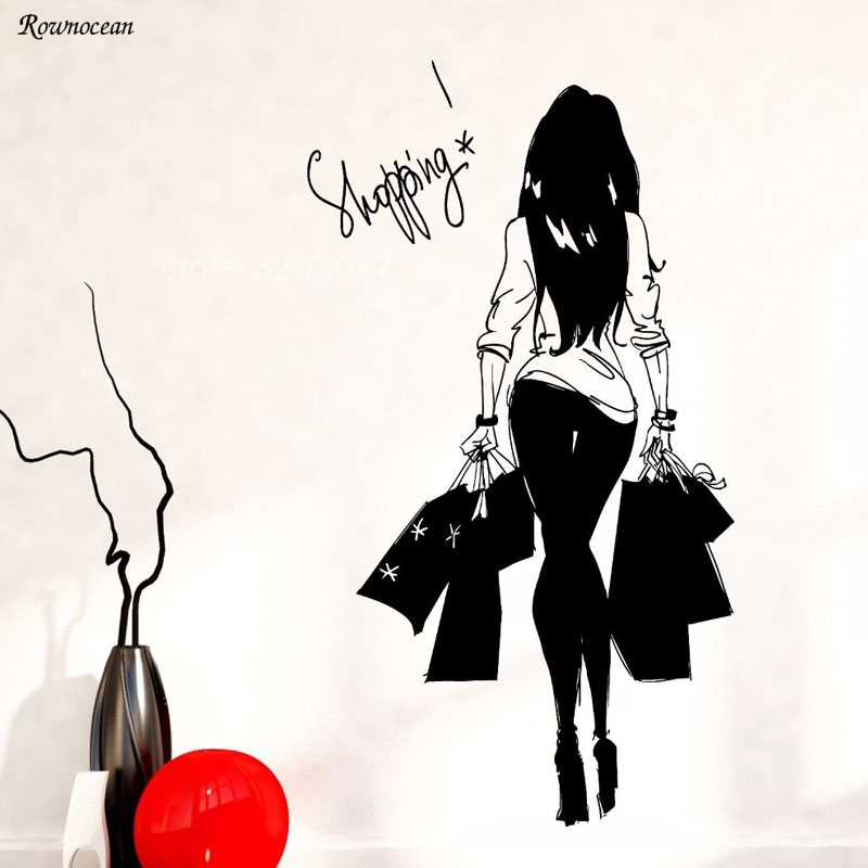 Fashion Young Woman Shopping Bag Clothes Shop Vinyl Wall Decal Wall Sticker Clothes Store Sexy Shopping Girl Bedroom Decor FS04