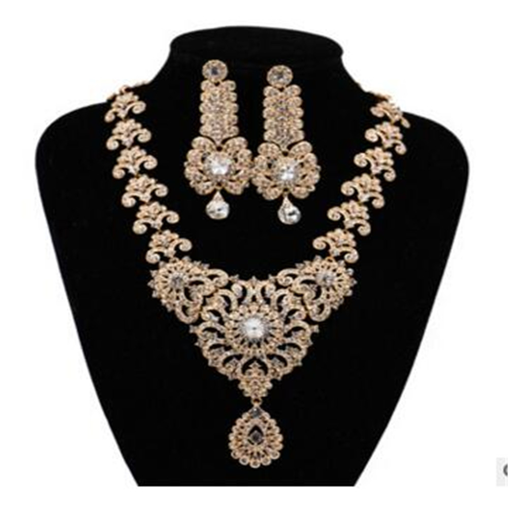Indian Bridal Jewelry Sets full Cystal Rhinestone Wedding Necklace and Earrings Sets for Women 2018 New Fashion Jewelry Sets attractive rhinestone embellished necklace and a pair of earrings for women