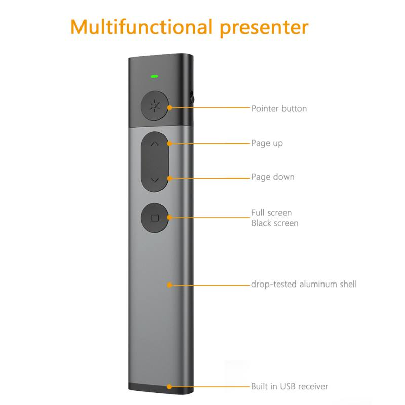 Portable 2.4GHz USB Wireless Presenter PPT Remote Control with Green Laser Pointer Laser Flip Pen for Powerpoint Presentation
