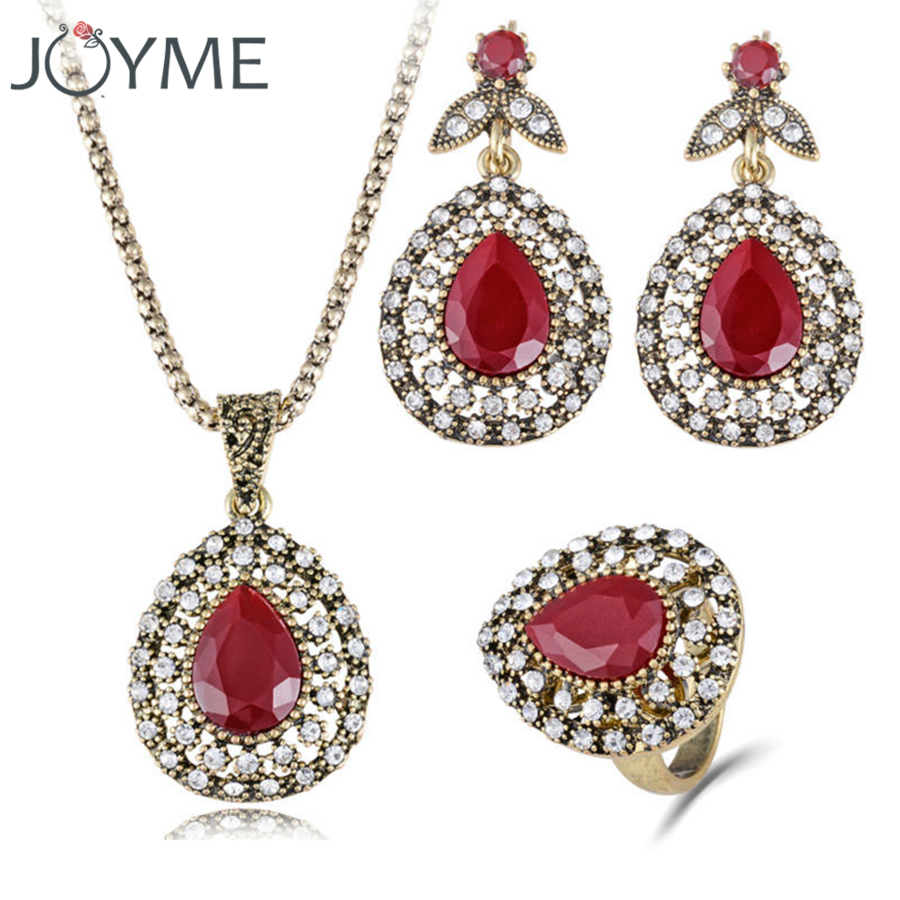 Women 2018 Jewelry Set Charm Austrian Crystal Ancient Bronze necklace ring sets 3 Pcs Wedding Accessories bijoux Turkey Jewelry