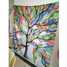 Colorful Trees Print Shower Bathroom Curtains With Hooks