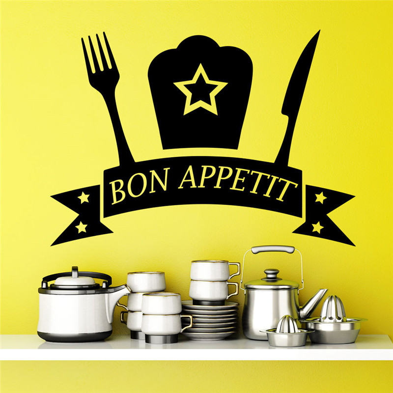 Modern Stylish Wall Decal Quote Bon Appetit Decals Sticker Kitchen Decor Cafe Interior Design Art Dining Room Wall Mural