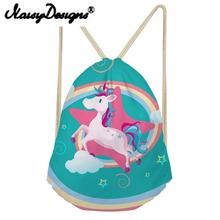 NOISYDESIGNS lovely Bags 3D Printed kids Drawstring Backpack School Shopper Unicorn Mochila Infantil Travel Gift 2018 new