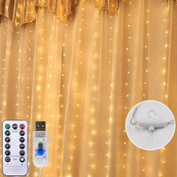 3x3m 300 LED Copper Wire Icicle Curtain Lights USB With Remote Fairy Lights String Garland For Wedding Party Curtain Decor