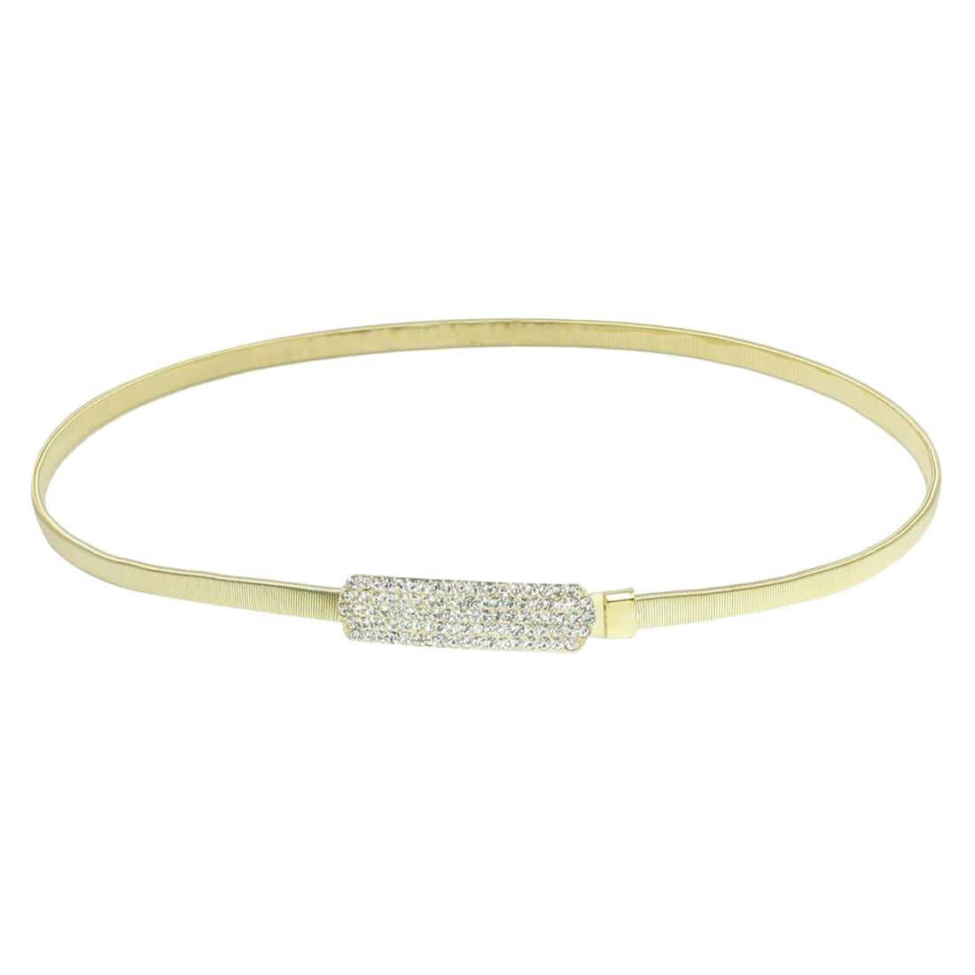 Metal Rectangle Interlocking Buckle Elastic Waist Chain for Lady