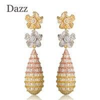 Dazz Double Flower Long Dangle Earrings For Women Luxury Three Tones Full Cubic Zircon Wedding Bridal
