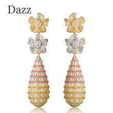Dazz Double Flower Long Dangle Earrings For Women Luxury Three Tones Full Cubic Zircon Wedding Bridal Hanging Tassel Earring