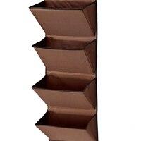 4 nivel puerta de pared colgante organizador almacenamiento rack bag bolsa de tela zapato marrón bolsillo
