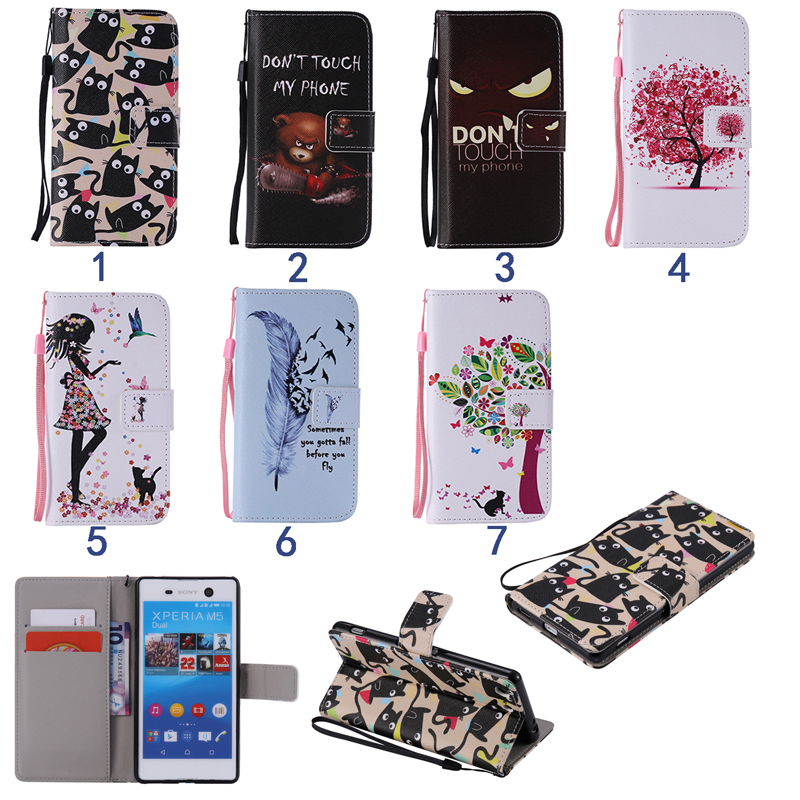 7e867cfc463 Fundas For Sony Xperia M2 Case Tree Cat Bear Plumage Evil Eye Flip Wallet Case  Cover For Sony Xperia M5 Case with Strap Coque