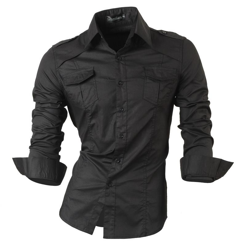 Image 2 - Jeansian Mens Dress Shirts Casual Stylish Long Sleeve Designer Button Down Slim Fit Z014 WhiteCasual Shirts   -