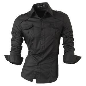 Image 2 - Jeansian hommes chemises habillées décontracté élégant à manches longues concepteur bouton vers le bas coupe mince Z014 blanc