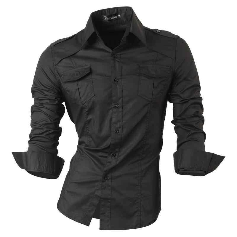 Jeansian мужские Рубашки повседневные стильные дизайнерский с длинными рукавами на пуговицах Slim Fit 8397 WineRed