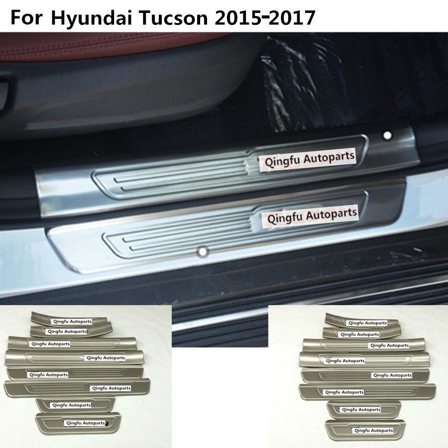 For Hyundai Tucson 2015 2016 2017 lamp threshold strip stainless steel Door Sill Scuff Plate outside+inside pedal moulding 8pcs for hyundai new tucson 2015 2016 2017 stainless steel skid plate bumper protector bull bar 1 or 2pcs set quality supplier