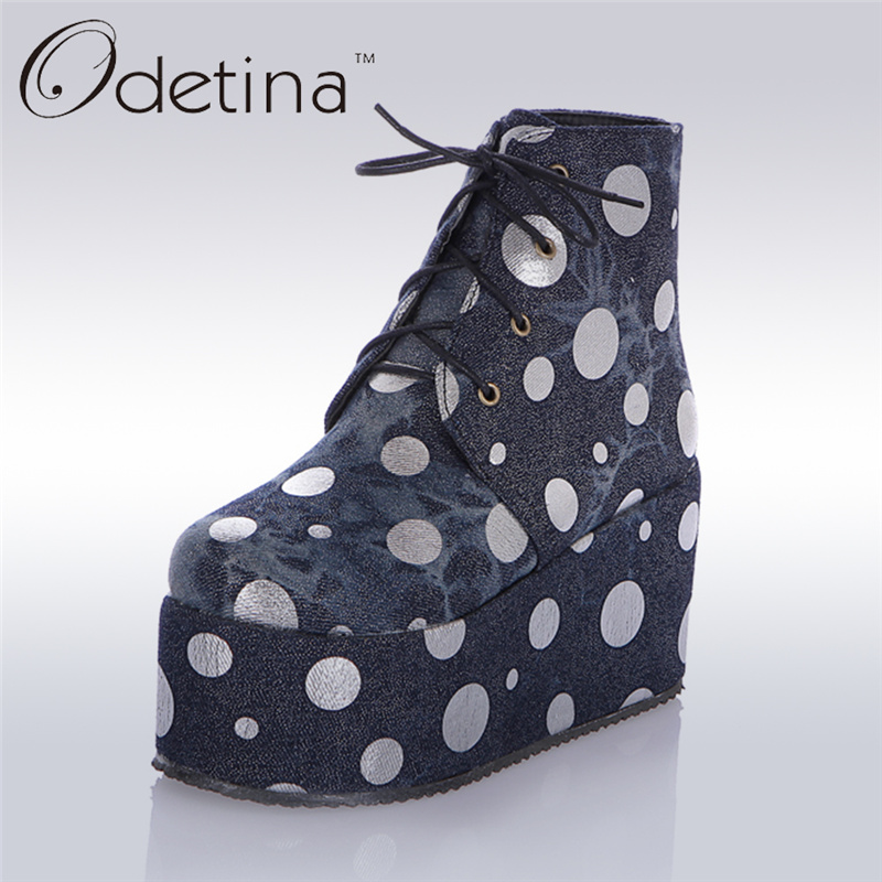 Odetina 2017 New Spring Autumn Denim Ankle Boots Womens Lace Up Platform Wedge Boots Polka Dot Thick Sole Booties Big Size 33-47 odetina 2017 new fashion genuine leather women platform flat ankle boots lace up casual booties autumn winter shoes big size 43