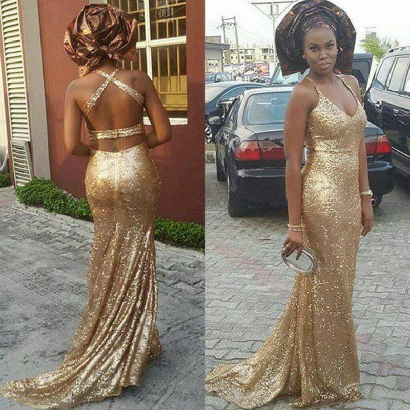 16dba468e3a1 Sparkly Gold Sequined Long Evening Dresses 2017 Halter Shiny Mermaid Prom  Gowns Sexy Back Open New Arrival Vestidos De Festa