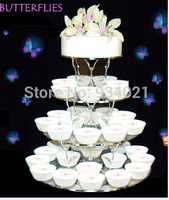 Hot selling free shipping 4 Tier Butterfly Acrylic Cupcake Stand / Plexiglass Round Cup Cake Stand/cupcake stand for Christmas
