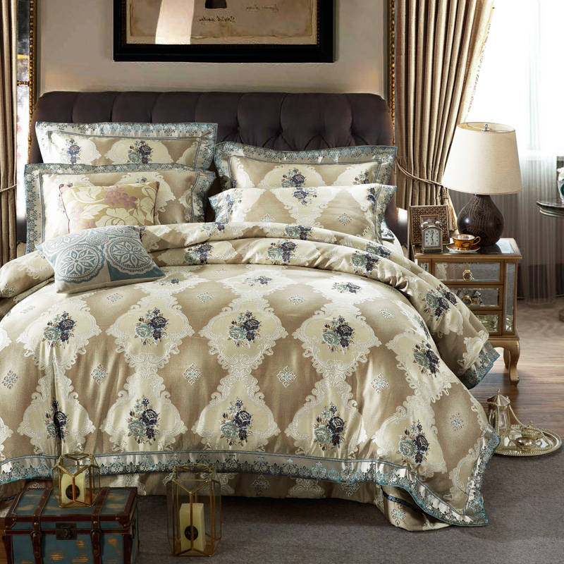 cotton silk flower bedding sets quilted bedspreads king size jacquard embroidery satin comforter cover 4