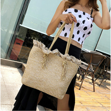 Designer Pleated Straw Women Shoulder Bag Handbag Casual Large Floral Woven Beach Tote Bag Rattan Shopping Bag Bolso femenino