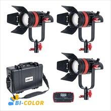 3 pièces CAME TV Q 55S Boltzen 55w haut rendement Fresnel focalisable LED bi couleur Kit Led lumière vidéo