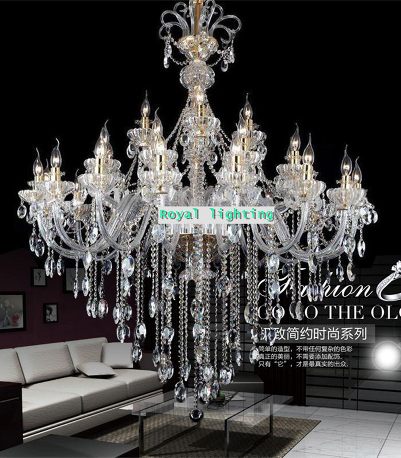 Large Antique Bohemian Crystal Handelier For Restaurant
