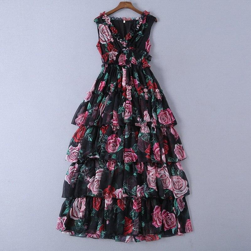 2019 여름 새로운 여성의 실크 장미 인쇄 v 목 긴 드레스 190115jt01-에서드레스부터 여성 의류 의  그룹 1