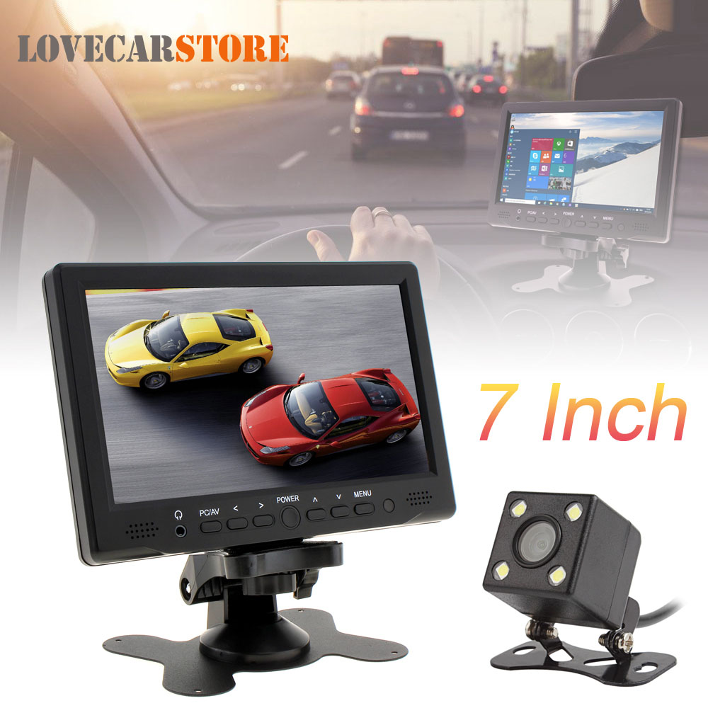 7 Inch TFT LCD Car Rear View Reverse Monitor Support AV VGA HDMI + Waterproof Night Vision Auto Rearview Backup Parking Camera