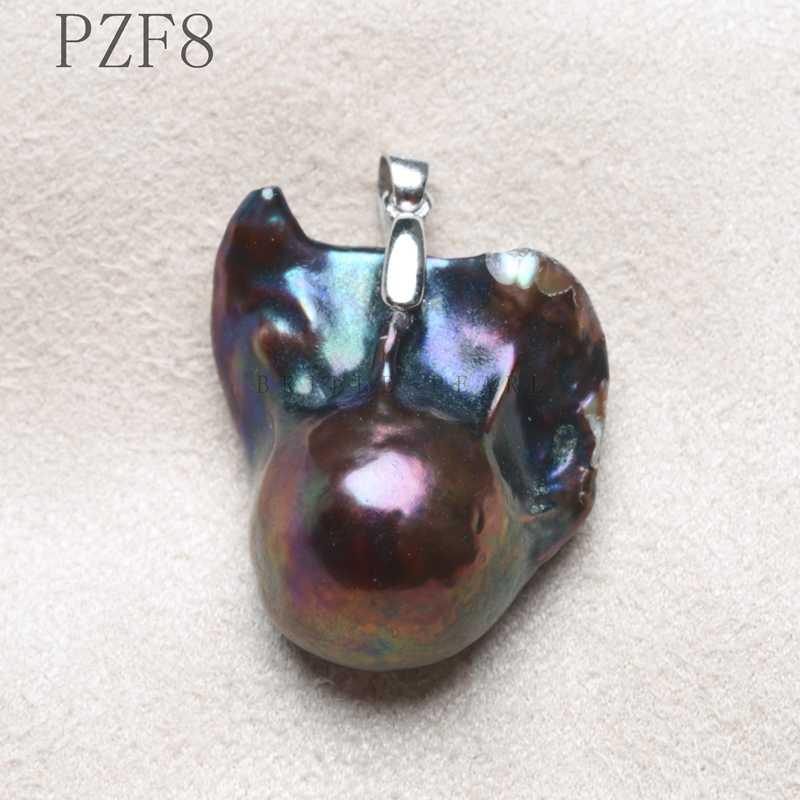 يدوية 925 فضة الاسترليني اللؤلؤ الطبيعي قلادة كبيرة الحجم حجر زهرة قلادة ملونة عميقة الشريحة خمر PZF
