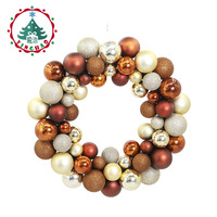 inhoo 35cm Christmas balls ring Christmas Wreath Crafts merry christmas decorations for home Window Door Wedding xmas ornament