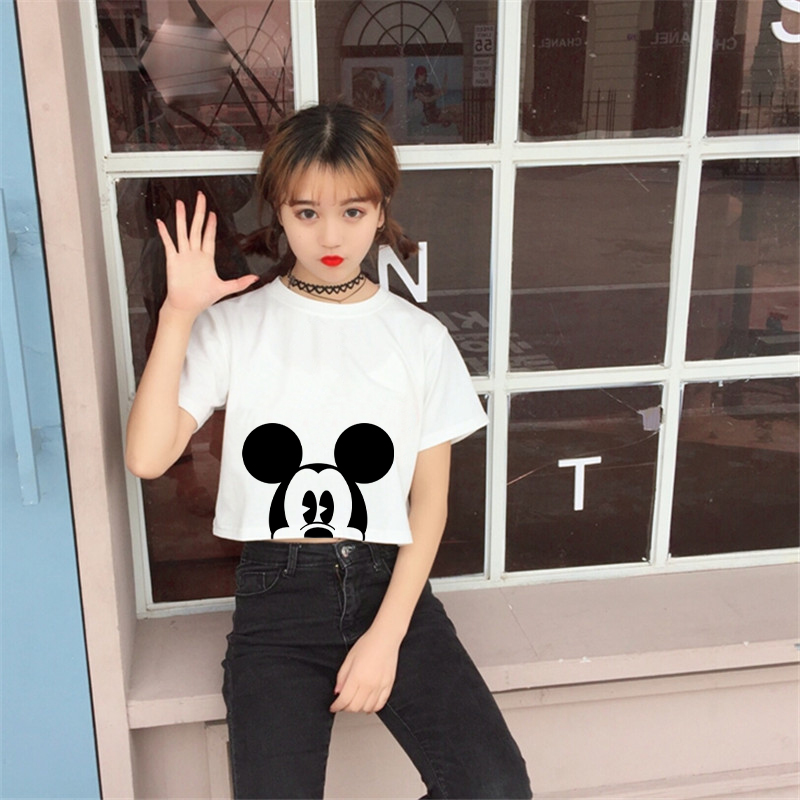 ZSIIBO 2017 Summer Cute Mouse Print Crop Top Women Cartoon T-Shirt Loose Short Sleeve Girls Tops Animals Tee Shirt Hwd011