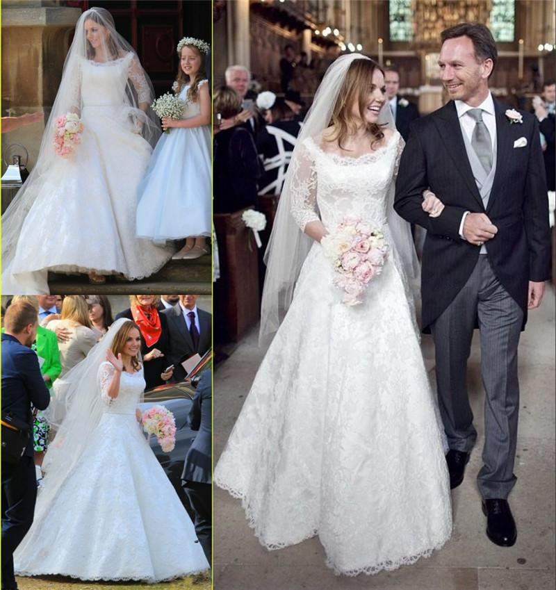 US $153.0 15% OFF|2019 winter wedding dress long sleeve line illusion  collar lace plus size bridal gowns-in Wedding Dresses from Weddings &  Events on ...