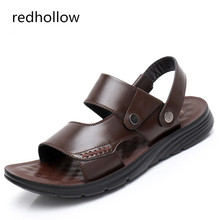New Fashion Summer Leisure Beach Mens Sandals Breathable Man Shoes Genuine Leather Soft