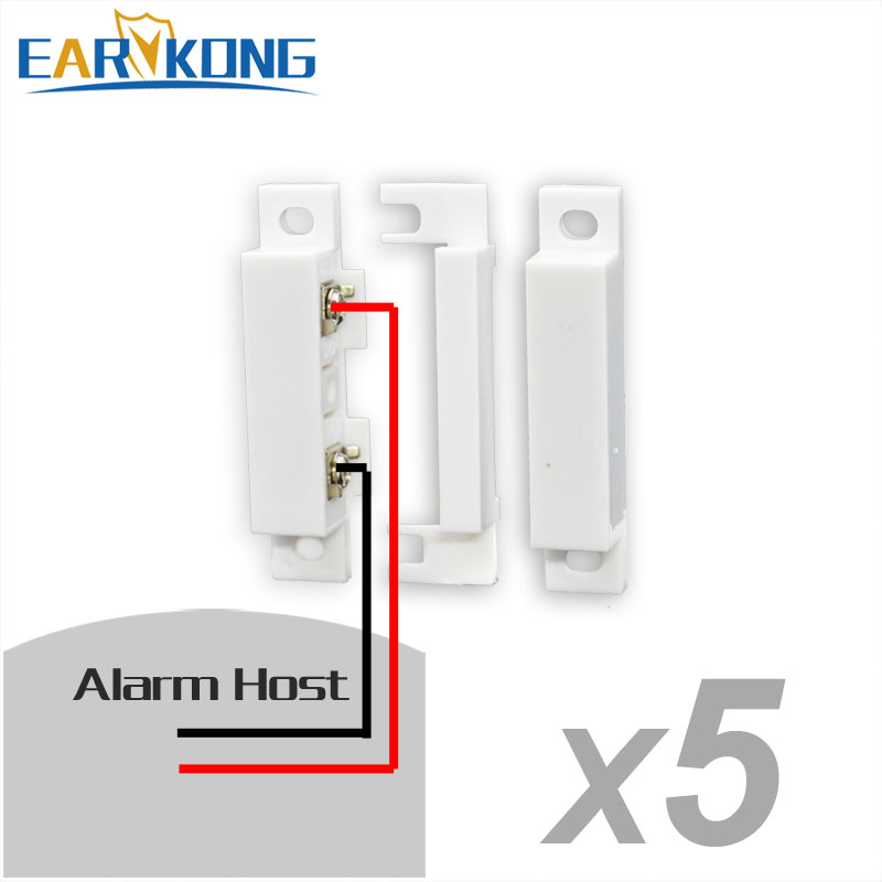 Wired Door Window Open Detector Door Sensor 5 Pieces Include Stable Than Wireless For Home Burglar System For GSM Alarm System
