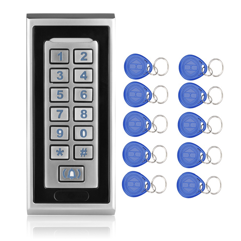 125KHZ Waterproof keypad rfid card reader With Metal Keypad Door Bell Button RFID Door Lock K81 Silver+10 EM4100 Keychains/fobs contact card reader with pinpad numeric keypad for financial sector counters