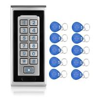 RFID 125KHZ Access Control Keypad With Waterproof Metal Keyboard Door Bell Button for Door Lock security System+10 EM ID Keyfobs