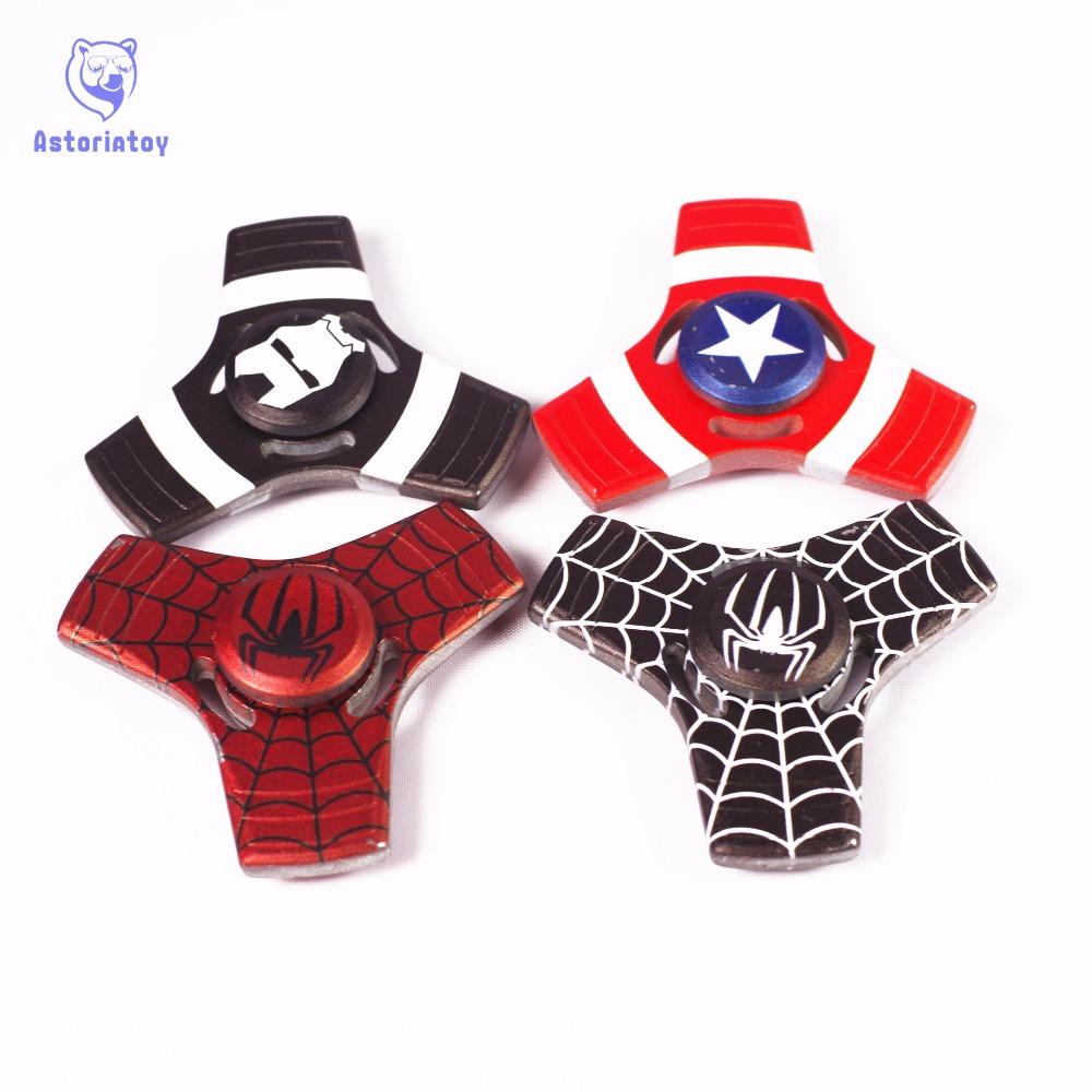 New 4 Colors Styles Captain America Spider Man Fidget Spinner Metal Hand Spinner Ceramic Bearing Spinner For Autism And ADHD