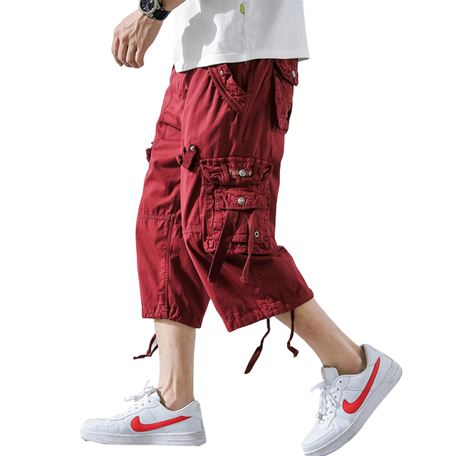 2019 Summer Camouflage Loose Cargo Shorts Men Camo Summer Short Pants Homme Cargo Shorts Without Belt Drop Shipping ABZ307