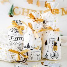 HOHOGOO 10pcs/bag Christmas Gift Bags Bread Candy Snowflake Crisp Bag Xmas Party New Year Baby Shower Drawstring